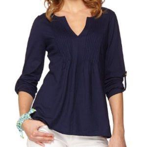 • LILY PULITZER • navy braylen tan sleeve tunic